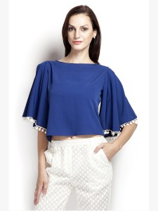 Popnetic Casual 3/4th Sleeve Solid Women's Blue Top