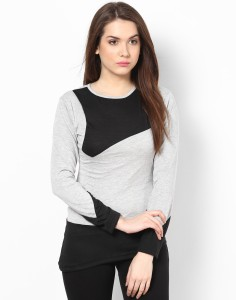 Athena Casual Full Sleeve Solid Women's Grey, Black Top