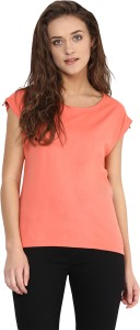 Miss Chase Casual Cap Sleeve Solid Women's Orange Top