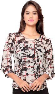Ossi Casual 3/4th Sleeve Floral Print Women's White Top