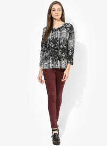 Only Casual 3/4th Sleeve Printed Women's White, Black Top