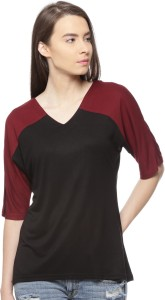Vvoguish Casual 3/4th Sleeve Solid Women's Black, Maroon Top