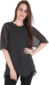 Lady Stark Casual Kimono Sleeve Polka Print Women's Black Top