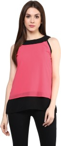 Mayra Party Sleeveless Solid Women's Pink Top