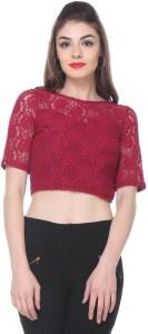 Zastraa Casual Short Sleeve Embroidered Women's Maroon Top