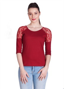 Veakupia Casual 3/4th Sleeve Solid Women's Maroon Top