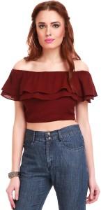 Sassafras Casual Sleeveless Solid Women's Maroon Top