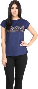 Mayra Casual Short Sleeve Printed Women's Dark Blue Top
