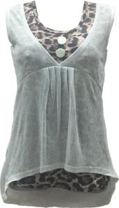 Dovekie Casual Sleeveless Animal Print Women's White, Brown Top