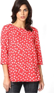 Only Casual 3/4th Sleeve Printed Women's Pink Top