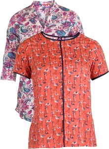 Vvoguish Casual 3/4th Sleeve Floral Print Women's Multicolor, Orange Top