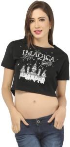 Imagica Casual Short Sleeve Printed Women's Black Top