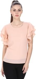 Marzeni Casual Butterfly Sleeve Solid Women's Pink Top