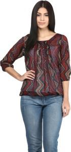 Mayra Casual Balloon Sleeve Printed Women's Brown Top