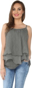From the Ramp Casual Sleeveless Printed Women's Grey Top