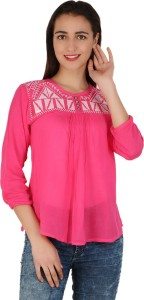 BuyNewTrend Casual 3/4th Sleeve Embroidered Women's Pink Top