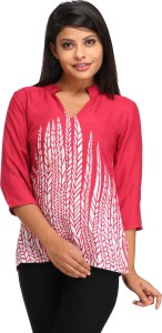 Cottinfab Casual 3/4th Sleeve Floral Print Women's Pink Top