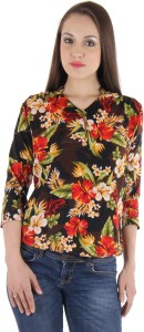 Vvoguish Casual 3/4th Sleeve Floral Print Women's Brown Top