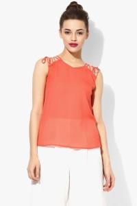 Veni Vidi Vici Casual Sleeveless Solid Women's Orange, Gold Top