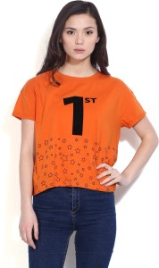 United Colors of Benetton Casual Short Sleeve Solid Women's Orange Top