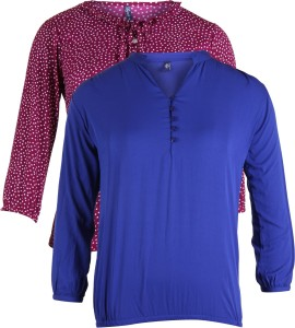 Vvoguish Casual 3/4th Sleeve Polka Print Women's Blue, Red Top
