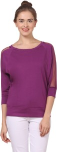 Fashion Expo Casual 3/4th Sleeve Solid Women's Purple Top