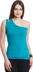 Hypernation Casual Sleeveless Solid Women's Blue Top