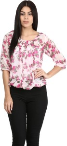 Mayra Casual 3/4th Sleeve Printed Women's Pink Top