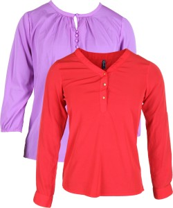 Vvoguish Casual 3/4th Sleeve Solid Women's Blue, Red Top