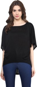 Miss Chase Casual 3/4th Sleeve Solid Women's Black Top
