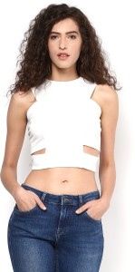 Martini Casual Sleeveless Solid Women's White Top