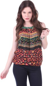 Crease & Clips Casual Sleeveless Printed Women's Orange, Multicolor Top