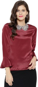 Sassafras Party 3/4th Sleeve Embellished Women's Maroon Top