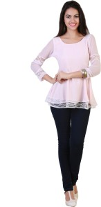 Belle Fille Casual Full Sleeve Solid Women's Pink Top