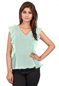 LA ATTIRE Casual Butterfly Sleeve Solid Women's Light Green Top