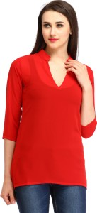 Cottinfab Casual 3/4th Sleeve Solid Women's Red Top