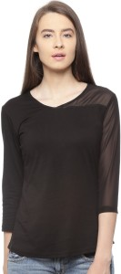 Vvoguish Casual 3/4th Sleeve Solid Women's Black Top