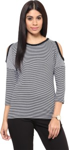 Hypernation Casual 3/4th Sleeve Striped Women's Black, White Top