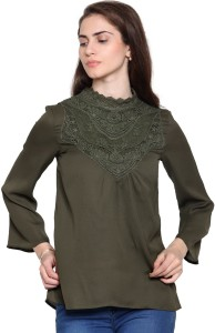 55250547288f9e Envy Me Casual Full Sleeve Solid Women s Dark Green Top Best Price in India