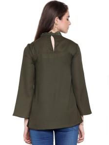 9c48f895155342 Envy Me Casual Full Sleeve Solid Women s Dark Green Top Best Price ...