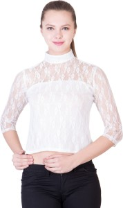 khhalisi Casual 3/4th Sleeve Floral Print Women's White Top