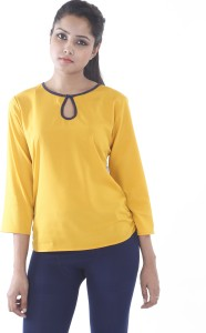 Myshka Party 3/4th Sleeve Solid Women's Yellow Top