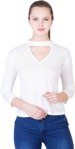 khhalisi Casual 3/4th Sleeve Solid Women's White Top