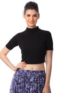 Scorpius Casual Short Sleeve Solid Women's Black Top