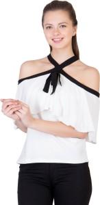 Khhalisi Party Sleeveless Printed Women's White Top