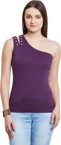Hypernation Casual Sleeveless Solid Women's Purple Top
