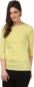 Fashion Expo Casual 3/4th Sleeve Solid Women's Yellow Top