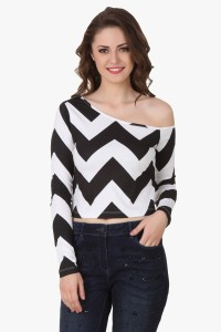 Texco Party Full Sleeve Printed Women's Black, White Top