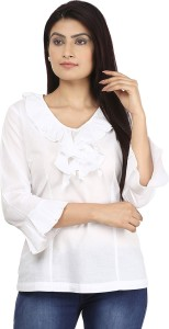 Eves Pret A Porter Casual 3/4th Sleeve Solid Women's White Top