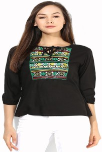 Mayra Party 3/4th Sleeve Printed Women's Black Top